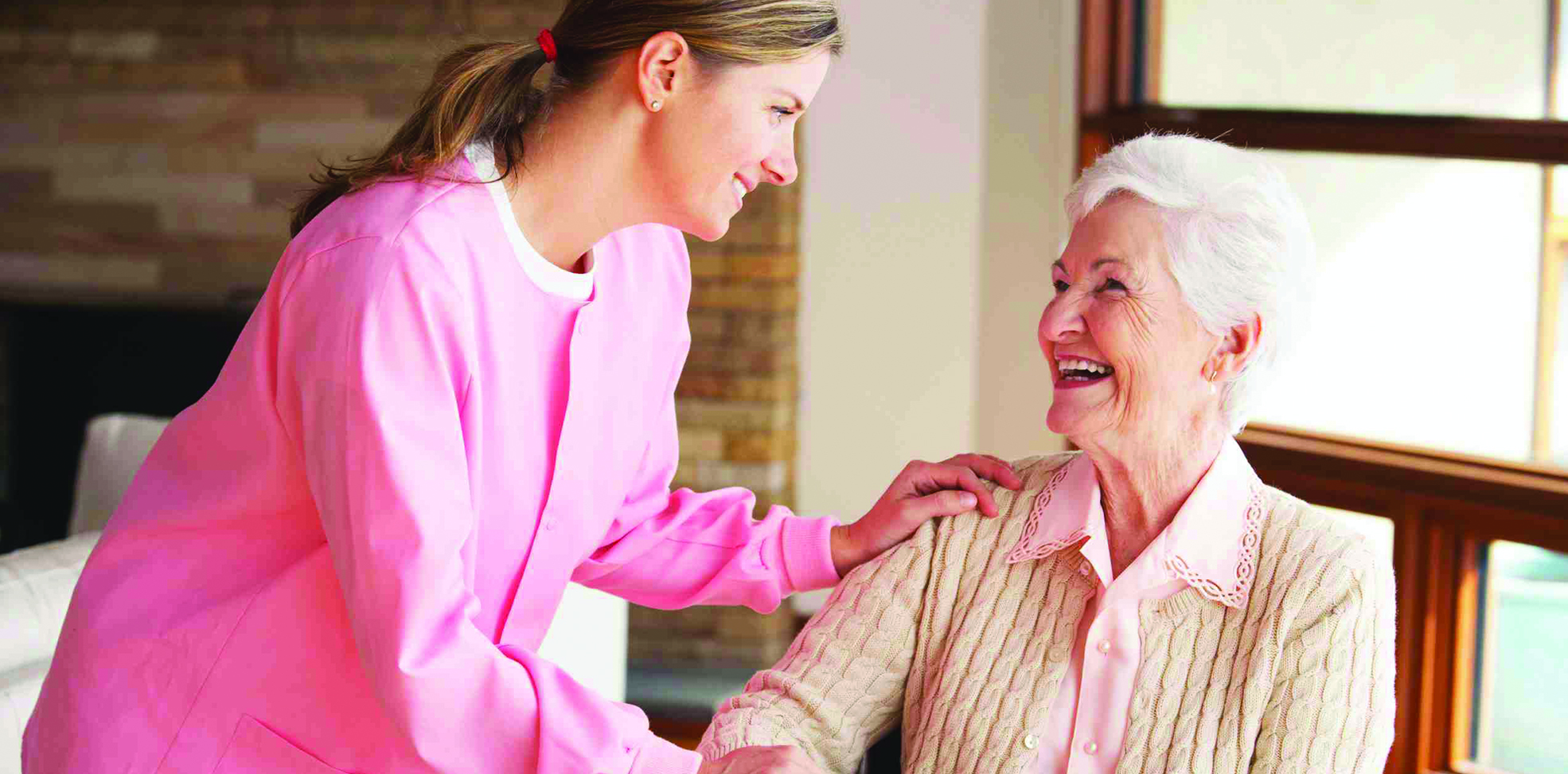 Nurse providing in home senior care